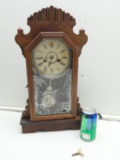 Antique 1880s ANSONIA Key Wind Kitchen Gingerbread Shelf Mantel Clock