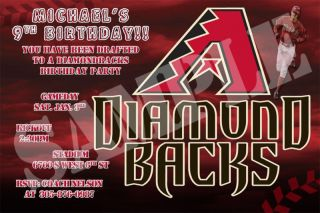 Baseball Arizona Diamondbacks Custom Birthday Party Invitations