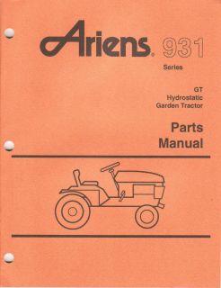 Ariens 931034 GT 20 Lawn Garden Tractor Parts Manual