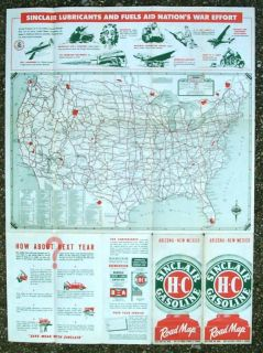 SINCLAIR GASOLINE ROAD MAP ARIZONA NEW MEXICO WWII ERA 1940s GAS OIL
