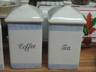 Vintage Ceramic Blue & White Tea & Coffee Canisters, Cereal Set