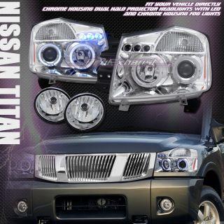 LED PROJECTOR HEAD LIGHT SIGNAL+BUMPER FOG 04 11 NISSAN TITAN/ARMADA