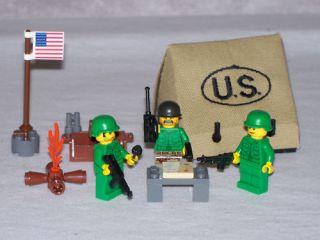 Lego WW2 U s Army Base Camp Playset w 3 Minifigs
