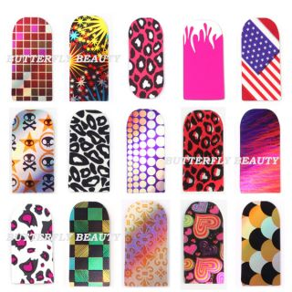 Nail Art Sticker Colorful Patch Foils Armour wraps Decoration 10