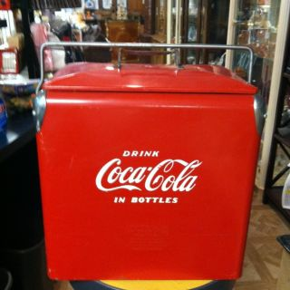 COCA COLA Cooler Made by ACTION Mfg Co in Arkansas City Kansas ca 40s