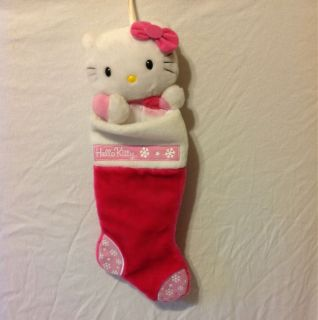 Christmas Stocking Pink Hello Kitty Plush LIGHTLY used 21 Long