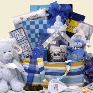 Great Arrivals Gift Basket Baby Boy Blanket Train Bank Teether Rattle