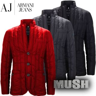 Armani Jeans Mens Fitted Quilted Down Jacket in Black or Navy Blue