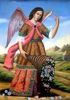 Saint Gabriel Original Oil Painting Peru Catholic Art