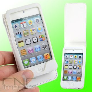 WHITE LEATHER FOLIO CASE FOR APPLE IPOD TOUCH iTouch 4G 4th Gen NEW