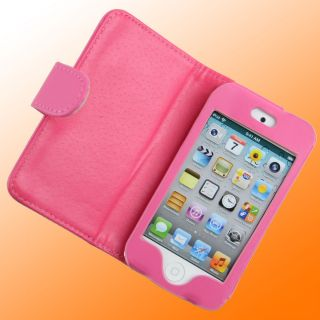 PINK LEATHER FOLDING CASE FOR APPLE IPOD TOUCH iTouch 4G 4th Gen NEW