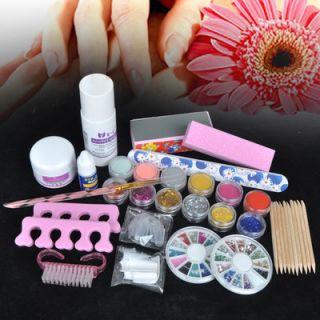 Acrylic 6 Powder Liquid KITS NAIL ART TIP KIT 6 Glitter Tool Gift 121