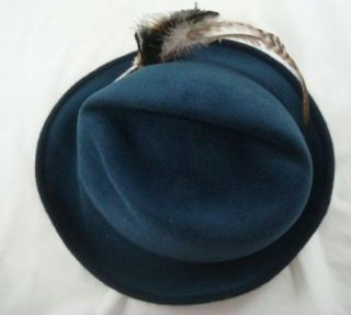 Vintage Wiener Modell Soft Tyrolean Blue Fedora German Hat Feather Pin