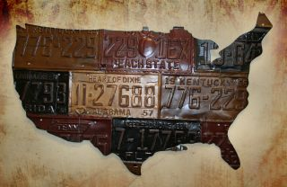 License Plate Tag Art—USA— New Metal Indoor Outdoor Sign
