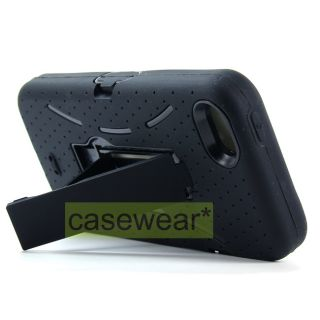 Black Kickstand Double Layer Hard Case Soft Cover for Apple iPhone 5