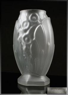 MULLER FRERES LUNEVILLE ART DECO High Style GLASS VASE, France 1920s