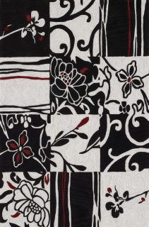 Modern Area Rug Contemporary Carpet Black White Red 3 6 x 5 6