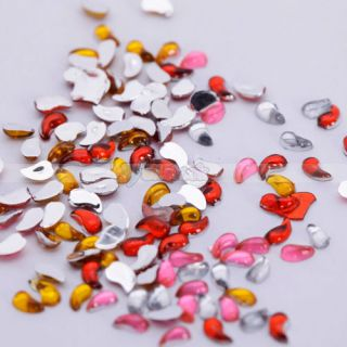 1800x2mm Nail Art Rhinestone Comma Shapes Glitters Tips Manicure Deco