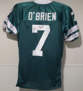 Ken OBrien Autographed Signed New York Jets Throwback Size XL Green