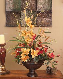 High Quality Silk Artificial Orchid Red Gold Flower Arrangement