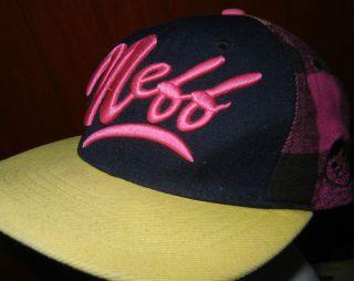 NEFF hat plaid wool blend baseball cap beanie neon pink logo headwear