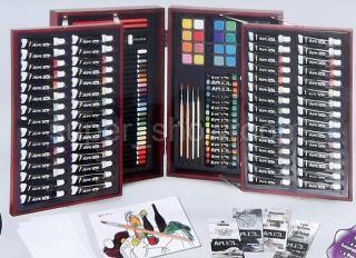 Supplies Set Hinged Wood Box Case 156 Piece Artist Art 101 Kit