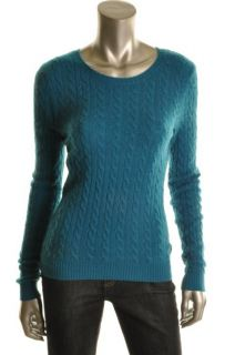 Aqua New Green Cashmere Crew Neck Long Sleeve Light Weight Pullover