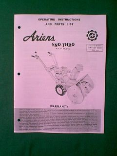 Ariens 4 HP Sno Thro Snowblower Snow Thrower Manual