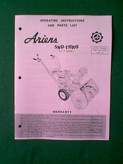 Ariens 4 HP Sno hro Snowblower Snow hrower Manual