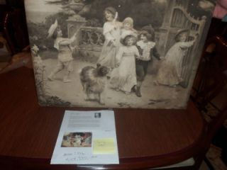 original ARTHUR J. ELSLEY PRINT SIGNED HOME TEAM 26X19 1903 VINTAGE