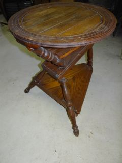 Antique Old Wooden Folk Art Spinning Wheel Lamp Plant Stand Base Table