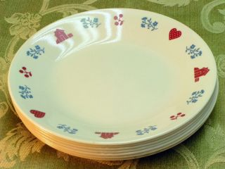 Hometown Corning Corelle Lot 7 Bread Plates Red Hearts