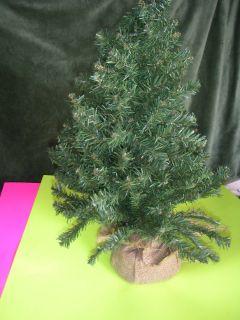 Mini Artificial Christmas Tree w Burlap Ball Like Stand