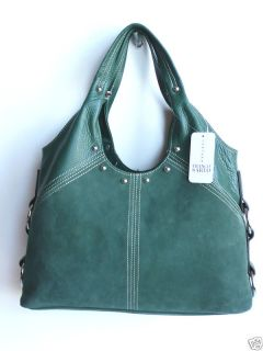Franco Sarto Green Suede Satchel Handbag Hobo Purse
