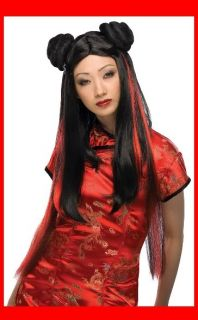 MS Chow Adult Asian Geisha Girl Japanese Black w Red Costume Wig