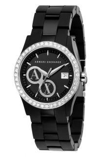 Armani Exchange Womens Black Glitz Bracelet Watch AX5020