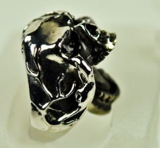 Angry Skull Heavy Metal Ring Black Death Doom Grim Reaper Skeleton