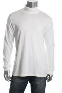 John Ashford NEW White Long Sleeve Interlock Turtleneck Shirt Top XXL