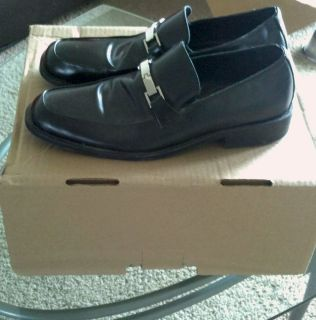 Aston Grey slip on black leather dress shoes with buckle size 10