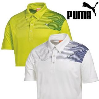 New Puma Argyle Tech Polo Shirt 2 Colors Lime Punch and White Blue