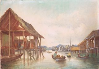 Asian Fishing Village on Stilts Original Watercolour Painting Thailand