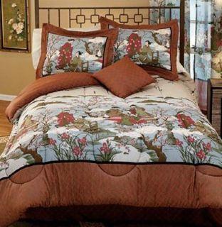 Sakura Garden Comforter Set Classic Asian Decor Cherry Blossom