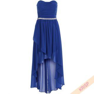 Layered Chiffon Asymmetric Boobtube Dress Ruffle Embellished Diamante