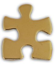Autism Asperger Gold Puzzle Piece Awareness Pin Tac New