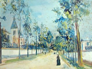 Collectible Signed Maurice Utrillo Street in The Suburbs Oil