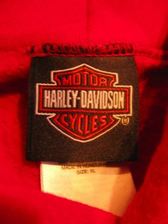 Harley Davidson Motorcycles Red Hoodie Sweatshirt Mens XL Embroidered