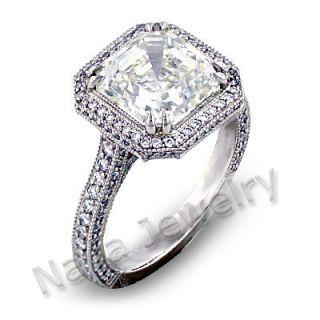 13 ct asscher cut diamond engagement ring