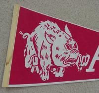 to enlarge description old arkansas razorbacks hogs original pennant