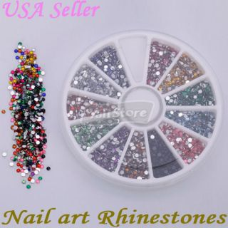 3000 Pcs 2 0mm Round Shape Nail Art Rhinestones Glitters Wheel