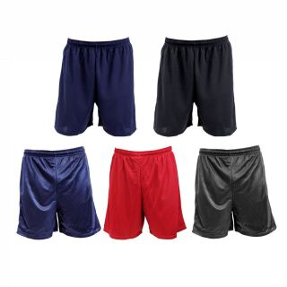Mens Athletic Gym Shorts Drawcord Waist Mesh or Knit Polyester Black